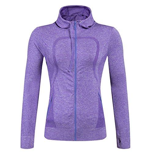 Selighting Damen Sportjacke Laufjacke Sweatjacke Funktionsshirt für Fitness Yoga Laufen (Violett, M)