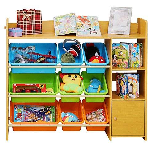 Kinder-Bücherregal Organizer Cabinet Kindergarten Aufbewahrungsbox Kunststoff-Box Kinder Spielzeug Storage Rack-Baby-Spielzeug-Speicher for Jungen und Mädchen (Farbe: Dunkel Farbe, Größe: 115 * 29,5 *
