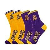 WWJJE Calcetines Tejidos a Media Pierna de Baloncesto | Baloncesto clásico Lakers