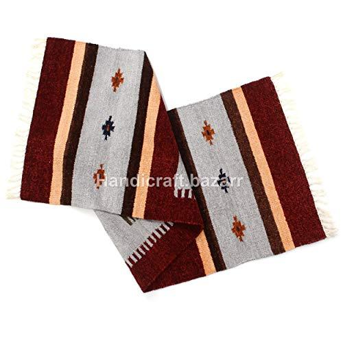 Handicraft Bazarr - Camino de lana de seda de 2 x 6 pies, camino de lana de algodón de estilo indio, estilo vintage, para sala de estar, cama, decoración de piso, alfombra decorativa para meditación, suelo de carpa