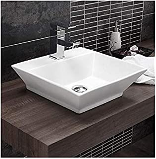 Ceramic Wall Mounted/Wall Mount/Wall Hung Wash Basin Bathroom Porcelain Vessel Sink Above Counter Countertop Bowl Sink for Lavatory Vanity Cabinet Contemporary Style 44 x 39 x 14 cm White
