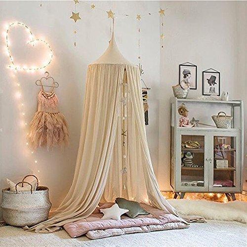 Ommda Moskitonetz Bett Kinder und Baby Betthimmel Moskitonetz Baumwolle süß und romantisch für Kinderzimmer und Schlafzimmer Beige 240x50cm (HöhexDurchmesser)
