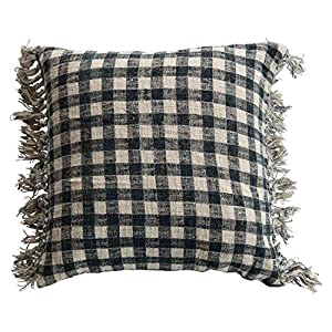 Perfect for a country home Both blue and cream gingham Has fringe for added detail Looks great as an accent piece 24""