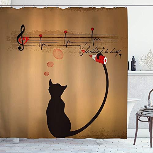 ZORMIEY Cortina de Ducha,Animal Gracioso Gato Lindo escribiendo notación Musical con Amante de la música de Cola,Material Resistente al Agua Durable Estampa de Baño Impermeable 180 x 180 cm