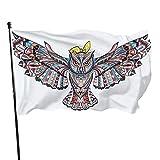 Bandera de jardín de colores con diseño de búho para interiores y exteriores, 3 x 5 pies, banderas de playa duraderas y resistentes a la decoloración con encabezado, fácil de usar