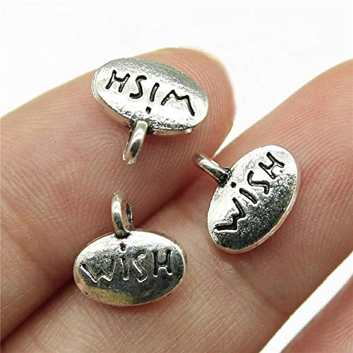 WANM Wish Tag Charms Pendant Diy Metal Jewelry Making Antique Silver Color 0.4X0.4 Inch (10X10Mm) 15Pcs/Lot