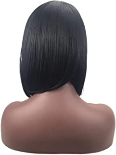 SUPPION Wigs Short Straight Synthetic Hair Full Wigs for Fashion Women Natural Looking Heat Resi (A)