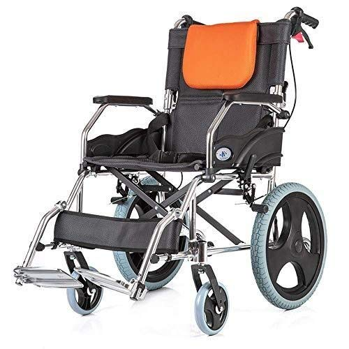 HJH- Folding Rollstuhl - Leichte selbstfahrenden Rollstuhl - Rollstuhl for Behinderte und ältere Menschen - Feste Armlehnen und Fußstützen - Sicherheitsgurt