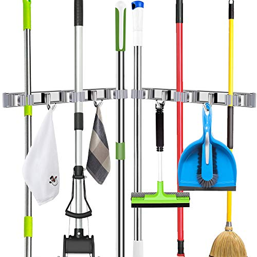 DunGu Broom and Mop Holder Wall Mounted 2 Packs Heavy Duty Sliding Track 2 Hooks 3 Clips Holds up to 10 Tools Metal Pantry Organization and Storage Garden Tool