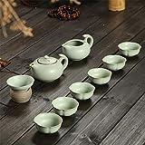 Candicely Juego de Té 10 Piezas de Juego de té Conjunto Artesanal Hecho a Mano de la Tetera de cerámica y Las Tazas Set (6 Tazas + Tetera con la Palanca) (Color : A, Size : Free Size)