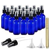 RUCKAE 2 oz Glass Spray Bottles-18 Piece Set - With Funnel and Gold Glass Pen,Black Fine Mist Sprayers (Blue)