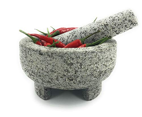 Kitch America | Mortar and Pestle - Heavy Granite Stone for Grinding Spices, Seasonings, Pastes, and Guacamole - Extra Sturdy Stay In Place Base