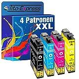 Tito-Express PlatinumSerie 4 Patronen XXL kompatibel mit Epson T1811 - T1814 18XL XP-102 202 205 212 215 225 30 302 305 312 313 315 322 325 33 402 405 412 413 415 420 422 425 | je 18ml Inhalt