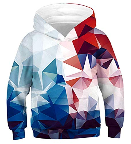 Fanient Unisex Teens Hoodies 3D Rhombus Print Sweatshirts Pullover Kids Hoodies with Kangaroo Pocket, A8, XL (155-172cm)