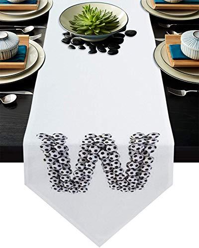 Camino de mesa de arpillera para fiesta/cena, deporte con letra de fútbol W, mantel y bufandas de 33 x 177 cm