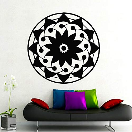 Calcomanía Mandala Yoga Salud Adorno Buda indio Om Símbolo Logotipo Vinilo Etiqueta de la pared Patrón de flor de loto Sala de estar Estudio Decoración del hogar Arte Murales póster