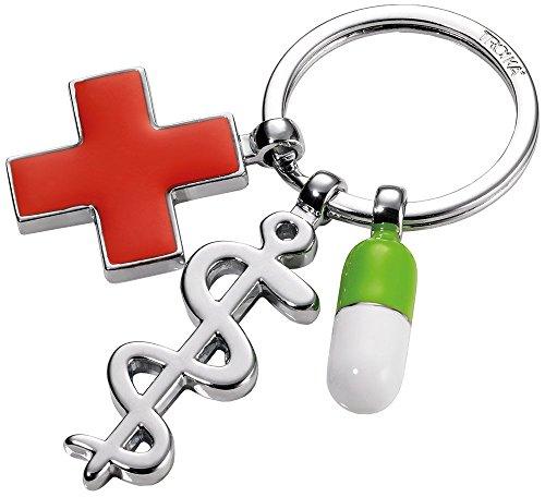 TROIKA Schlüsselanhänger GET Well - KR14-08/CH - glänzend verchromt - Schlüsselring mit mit 3 Anhängern: Äskulapstab, rotes Kreuz und Pille - das Original von TROIKA