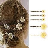 Genglass Horquillas para el pelo de boda, horquilla de flores amarillas, pinzas para el cabello doradas, accesorios para el cabello para mujeres y niñas, paquete de 5
