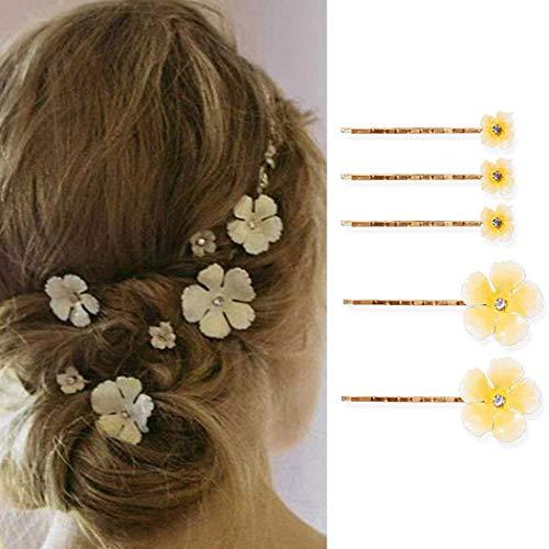 Genglass Hochzeit Haarklemme Gelbe Blume Haarnadel Gold Haarspangen Haarspangen Haarschmuck für Frauen und Mädchen 5er Pack