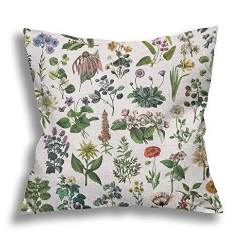 RDXX Vintage Botanical Print Flax Pillow Case Decorative Pillow Cushion Cover for Sofa Chair Bed Car Home Office Decor 45x45 cm