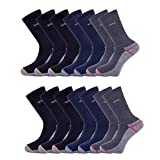 WILLIAM & EDWARDS 14 Pairs - Heavy Duty Work Socks Safety Boot Work Socks Antibacterial Luxury Cotton All Around Cushioned Builders Mechanics Guards Hiking Walking