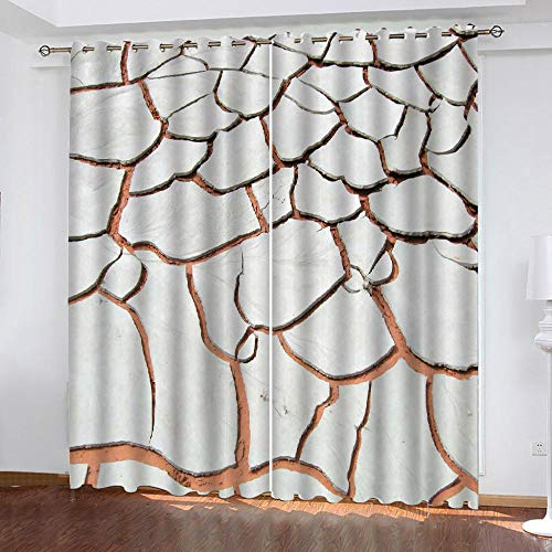 QLCUY 3D Printing Curtains Grey Crack 3D Photo Print Eyelet Curtains Thermal Insulated Noise Reducting Suitable For Living Room Bedrooms Curtain Drapes Energy Saving W150 X H166Cm.