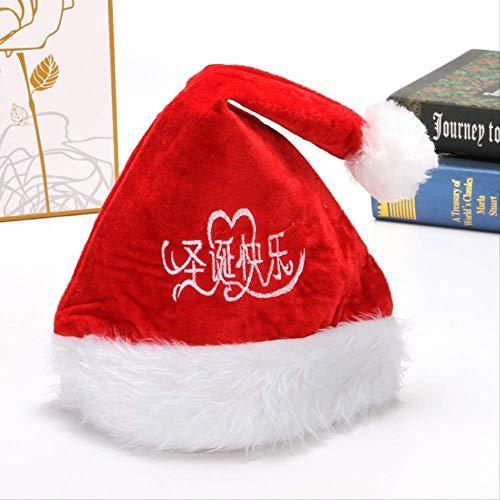 JICIMAOYI Frohe Weihnachten Double-Layer Gold Velvet Composite Plüsch Weihnachtsmütze