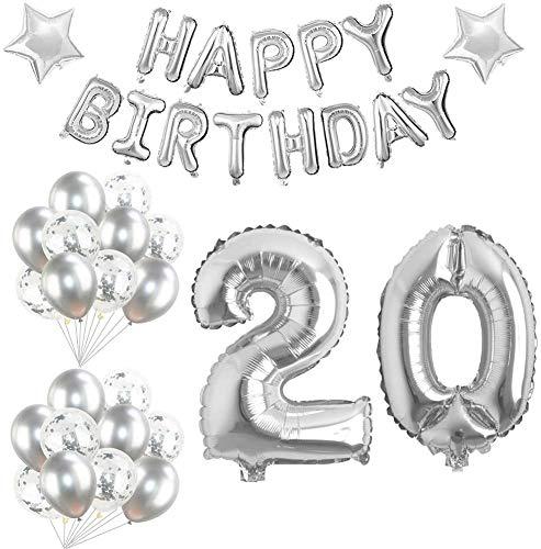 Youngneer Palloncini Compleanno 20 anni Argento Bomboletta Elio per Gonfiare Palloncino Festa di Compleanno Decorazioni Ghirlanda Buon Compleanno per donna uomo Kit Palloncini