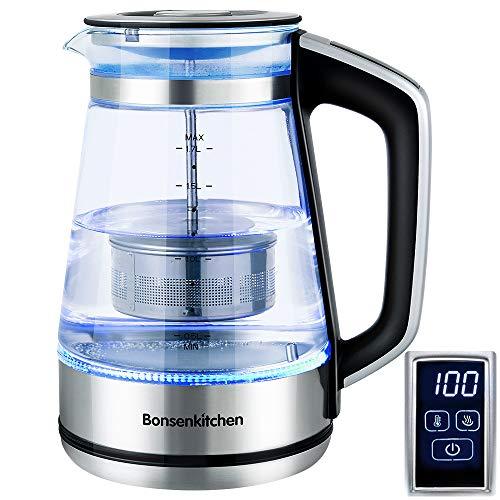 Bollitore Elettrico in vetro, Bosenkitchen 1.7L Impostazione della temperatura (40 ℃ -100 ℃) Bollitore con filtro rimovibile, funzione di mantenimento del calore e protezione contro il ,BPA Free 2200w