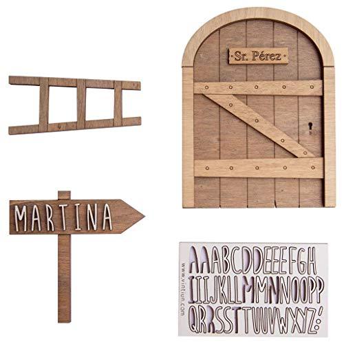 VINTIUN Puerta Ratoncito Pérez con Escalera y Cartel para Personalizar con el Nombre que tú Elijas.
