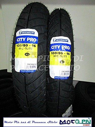 Paire de pneus pour scooter 100/80/16 + 120/80/16 Michelin City Pro pour Honda SH Kymco.