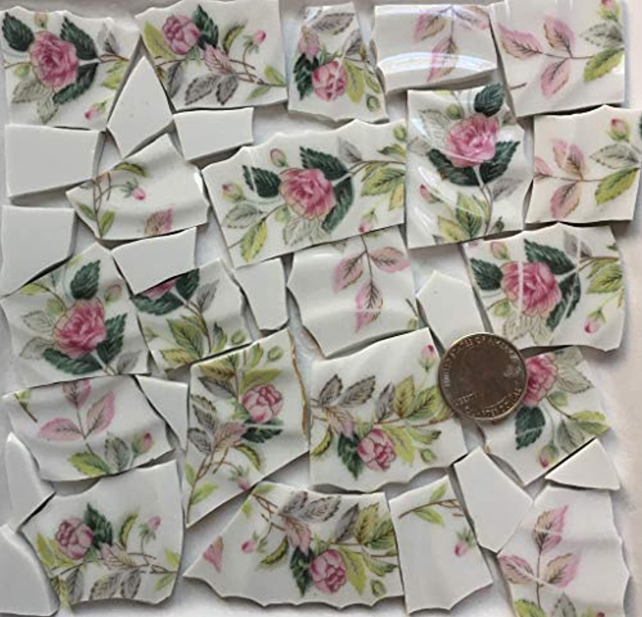 Mosaic Art & Craft Supply ~ Vintage China Pink Roses & Green Leaves Tiles (T#A370)