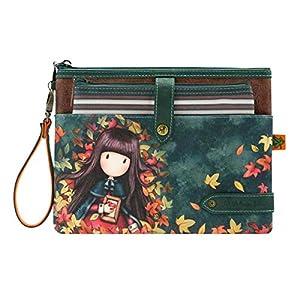 SANTORO GORJUSS 1029GJ01, Neceser Doble 2 en 1 Autumn Leaves para Mujer, Verde, Pequeño