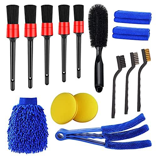 RUIZHI 15pcs Coche Cepillo de Limpieza Kit Coche Cepillo Detailing Cleaning Tools para Lavado Ruedas, Motor, Ventilación de Aire, Moto, Interior y Exterior