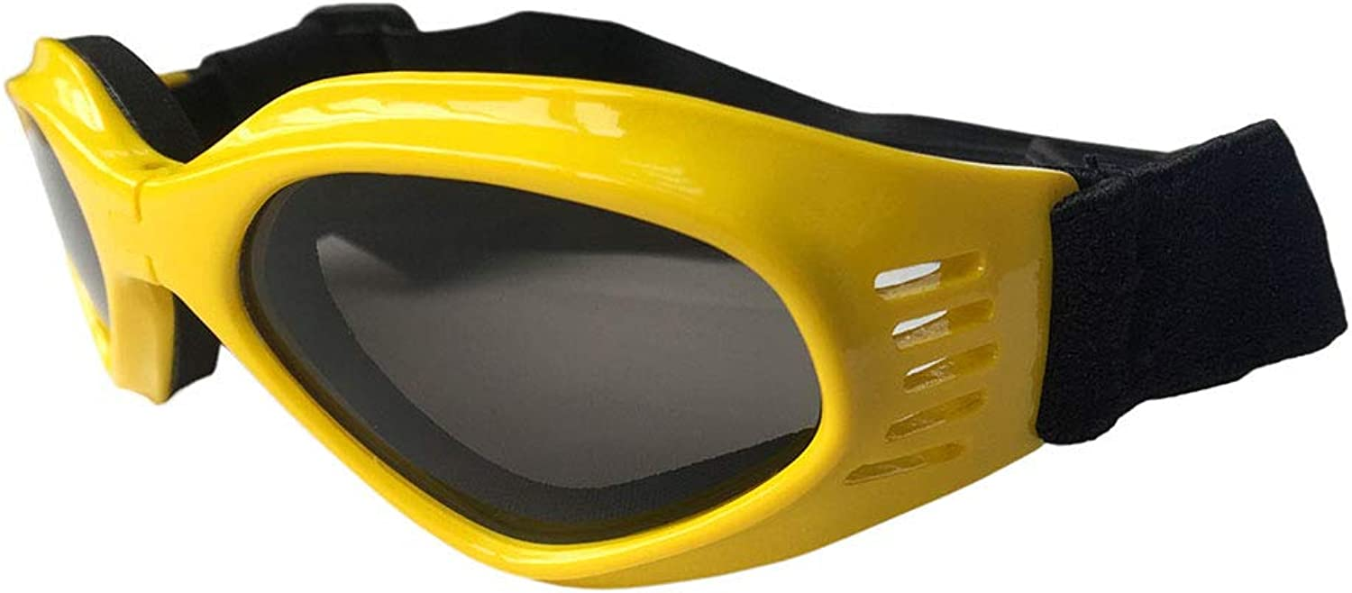 Dog Goggles, Pet Glasses, Collapsible Pet Dog Sunglasses UV Predection Glasses Windproof Sun Pet Supplies,Yellow