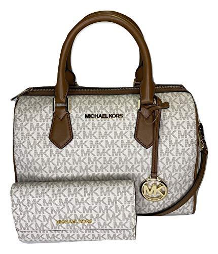 Michael Kors Bedford Große Reisetasche mit Michael Kors Jet Set Reisetasche, groß, dreifach faltbar, Signature MK Vanille