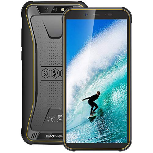 Móvil Resistente 4G, Blackview BV5500Plus Android 10.0 Smartphone(2020), 5.5' HD+ Pulgadas, 32GB+ 3GB(SD 128GB), 4400mAh Batería, 8MP+5MP, IP68 Telefono Movil Antigolpes, Dual SIM/GPS/NFC/Face ID
