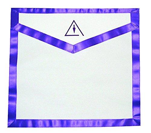 (1) One Cryptic Mason Apron (Right Break) - White and Purple Duck Cloth Apron Freemasons
