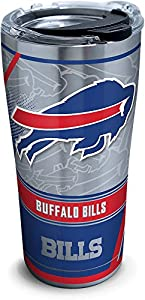 Tervis 1266712 NFL Buffalo Bills Edge Stainless Steel Tumbler with Clear and Black Hammer Lid 20oz, Silver
