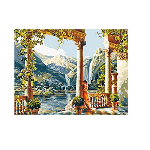 Moonuy DIY Ölgemälde nach Zahlen Kit, Malerei Set, Zeichnung, mit Pinsel, Altes Rom Architekturlandschaft Mit Mädchen 16 x 20 Zoll Weihnachtsdekoration, Geschenk (ohne Rahmen)