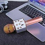Shop-STORY - Micrófono de karaoke inalámbrico con función Bluetooth, color rosa dorado