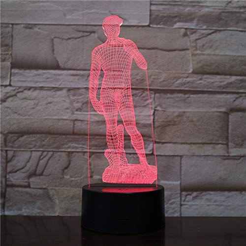 Nur 1 Michelangelo David 3D LED Nachtlicht Skulptur Figur Touch Sensor Dekorative Lampe Kind Kind Dekor Schreibtisch Lampe Künstler Geschenk