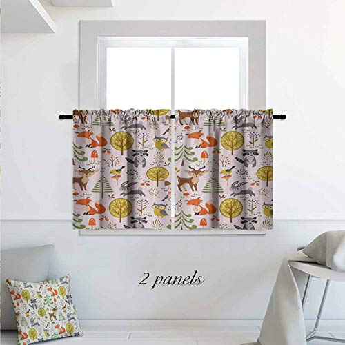 Animals Kitchen Curtains Woodland Forest Animals Trees Birds Owls Fox Bunny Deer Raccoon Mushroom Print Room Darkening Kitchen Tier Window Treatment 2 Panels 42 x 24 inch Multicolor