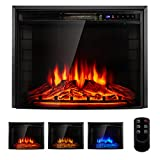 YODOLLA 26' Curved Screen Electric Fireplace Insert, Christmas Electric Fireplace Heater with Timer, Dimmer, Heater, Temperature & Remote Control