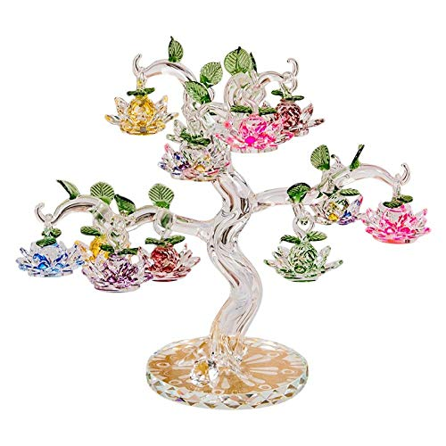 Crystal Lotus Tree Ornaments Fengshui Miniature Figurine Home Decorations Crafts Gifts-Transparent_18 Hangs Tree_China