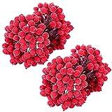 MELLIEX 400 Artificiali Agrifoglio Bacche Mini Natale Glassata Frutta Bacche per la Alberi di Natale Decorazione