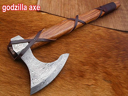 20 Inches Long Damascus Steel Tomahawk Axe, Rose Wood with Wrapped Leather Handle Bearded Hiking Axe, Hand Forged Damascus Steel Camping Axe, Thick Cow Hide Leather Sheath