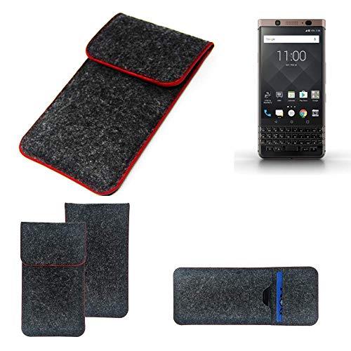 K-S-Trade Handy Schutz Hülle Für BlackBerry KEYone Bronze Edition Schutzhülle Handyhülle Filztasche Pouch Tasche Hülle Sleeve Filzhülle Dunkelgrau Roter Rand