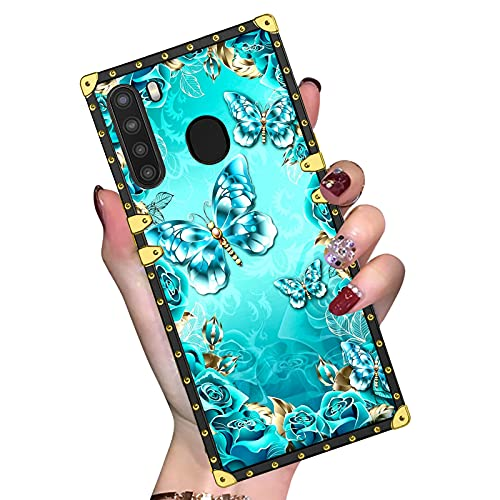 Blue Butterflies Samsung Galaxy A21 Case for Women Girls,Luxury Glitter Square Corners Soft TPU Slim Shockproof Protective Samsung A21 Phone Case for Samsung Galaxy A21 6.5 Inch 2020