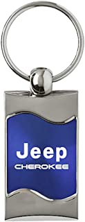 Au-Tomotive Gold, INC. Jeep Cherokee Rectangular Blue Car Key Chain Ring Fob